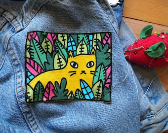 Jungle Cat Sew-on Patch - I like Cats - Embroidered patch - sew on patch - Cats - Cat accessories - Jungle cat - Jungle - embroidery
