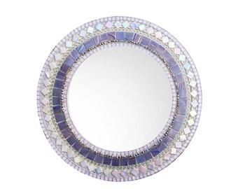 Round Mirror For Nursery, Purple and Pink Mosaic Mirror, Baby Girl Nursery Wall Art