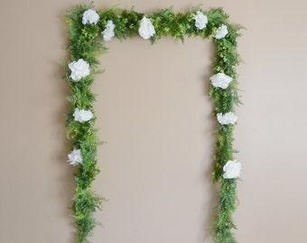 Wedding Garland, Wedding Backdrop, Flower Garland, Greenery Garland, Greenery Backdrop, Photo Booth Backdrop, Boho Wedding, Silk Flowers