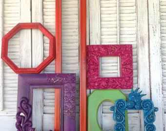 6 Wall Gallery Frames - Open, Empty Wall Frames - Multi-Color Wall Frames - Wall Decor - Gift for Mom
