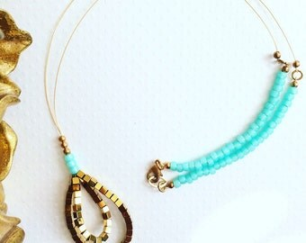 Necklace. Handmade jewelry. Gold and Turquoise Necklace. Boho. Chic. Sugarplum Gallery.