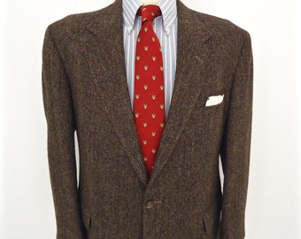 Vintage Harris Tweed Sport Coat / D.S.Stuart brown herringbone wool suit jacket / men's large / 44S