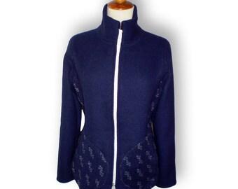 Wool dark blue waist high collar zipper woman  jacket with two pockets