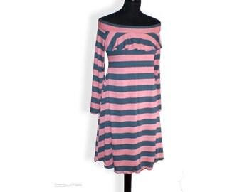 Stripe A shape dress with nice open shoulder, knee length, long sleeves, fluttering spring summer dress
