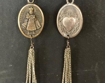Vintage Infant of Prague Religious Medal Earrings