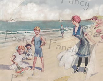 Those sunny BEACH Days of SUMMER, Instant Digital Download, Printable Vintage Magazine Image