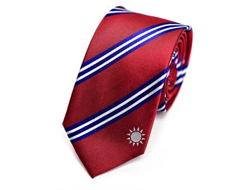 """Taiwan Skinny Tie (2.5"""") - Inspired by the Taiwanese Flag - Taiwan Necktie. LDS Missionary. Husband Gift, Missionary Gift. Fathers Day Gift."""