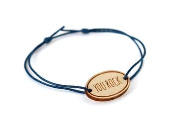"Oval bracelet with message ""You rock"" - Valentine's bangle - wedding jewelry - 25 colors - adjustable bracelet - lasercut maple wood"