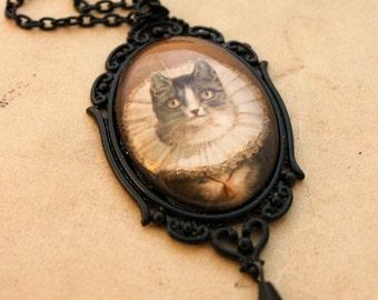 Steampunk Cat Necklace - Victorian Gothic Victorian Black Ruff Vintage Cabochon Pendant swarovski