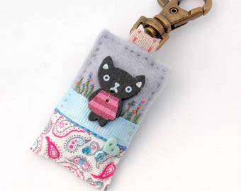 kawaii cat bag charm, kawaii charm, kawaii cat, handmade purse charm, kitty charm, fun black cat, kawaii lover, paisley cat, kitten charm