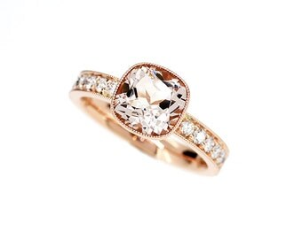 Cushion cut peach morganite engagement ring with diamonds, rose gold solitaire ring, milgrain, vintage style, peach ring, unique engagement