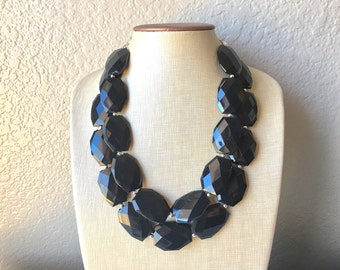 Black Necklace, multi strand jewelry, big beaded chunky statement necklace, black necklace, bridesmaid necklace, bib necklace, black