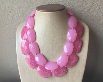 Pink Necklace, multi strand jewelry, big beaded chunky statement necklace, bridesmaid necklace, pink jewelry