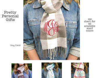 Winter Scarf with monogram or name - 34 colors