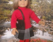 """American Girl 18"""" Doll Tartan Kilt Outfit with Wellies and Accessories."""
