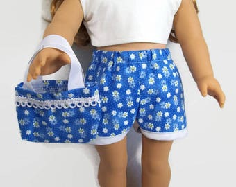 Blue and White Summer Shorts Outfit - Made to Fit 18 Inch Dolls Like American Girl Doll Clothes