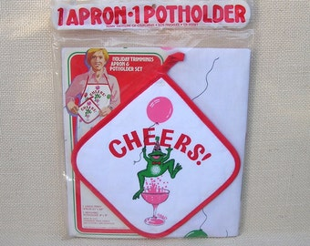 Vintage Party Apron & Potholder, Cheers! Frog Apron, Cocktails, Balloons, Celebration, Holiday Party