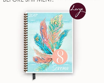 Large 2017 2018 Personalized Weekly Planner with Watercolor Turquoise Peacock Feather  Cover