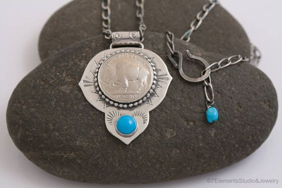 Buffalo Gal Necklace, Sterling Silver Buffalo Nickel Necklace with Cabochon
