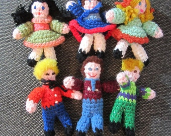 Miniature Crocheted Boy and Girl Dolls Decor
