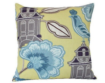 Designer Yellow Chinoiserie Pillow Cover
