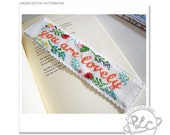 """Bookmark Cross Stitch Pattern """"You are lovely"""". PDF instant download modern cross stitch."""