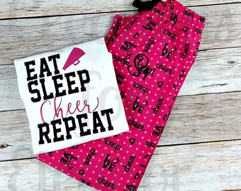 Cheer Pajamas, Cheer Shirt, Cheerleading, Cheer Camp, Cheer Pants, Cheer Gear, Cheerleading Pants, Girls Cheeleading Shirt, Gifts for Her