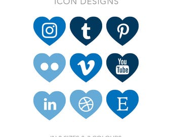 19 Heart Shaped Social Media Buttons - Instant Download - Blue