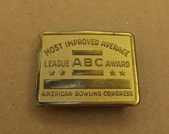 Vintage Brass Bowling Belt Buckle