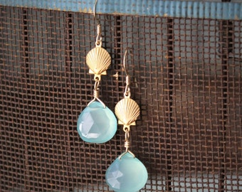 Naida Earrings: Tiny brass scallop shells and wire wrapped aqua chalcedony heart briolettes dangle on 14k gold filled ear wire