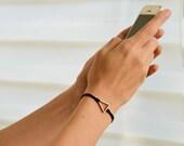 Triangle bracelet, women bracelet with silver Triangle charm, minimalist geometric jewelry, black cord, birthday gift for her,black bracelet