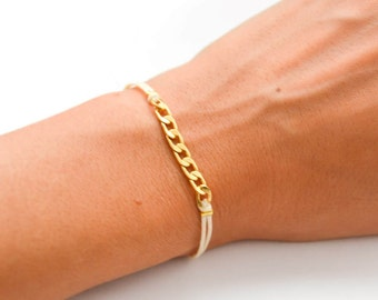 Bracelet for her, gold bracelet, cord bracelet, gold plated flat chain, beige string dainty bracelet, minimalist jewelry, women jewelry gift