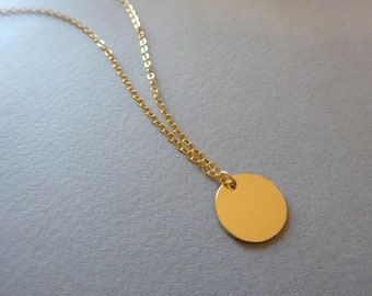 Long Disc Necklace Gold Disc Necklace Dainty Gold Necklace Delicate Gold Necklace Delicate Gold Jewelry Simple Necklace Long Gold Necklace