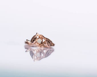 Raw Diamond and Rose Gold - Elvish Nature Inspired Gold Twig Ring White Rough Uncut Raw Diamond 14K 585 Engagement Swirl Leaves Leaf Twig