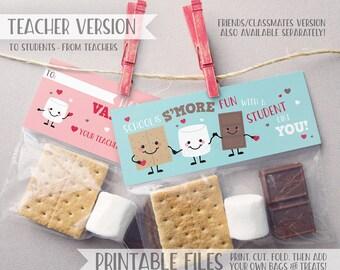 PRINTABLE Teacher Classroom Valentines, Smores Valentine Treat Bag Toppers, S'mores Printable Valentine Tag, DIY Valentine Cards Kids Class