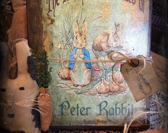Primitive Peter Rabbit Journal Diary Cupboard Tuck Nursery Decor Collectible Spring Easter Gift