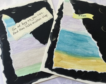 Watercolor cards - black - modern - pastels - shimmer - so it goes - Kurt Vonnegut - large cards - handmade cards - Wcards