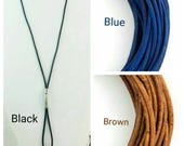 """Leather Lanyard 2mm Black Blue or Light Brown ID Holder Badge ID Unisex Stainless steel """"The Ellie"""" by LQ Expressions"""