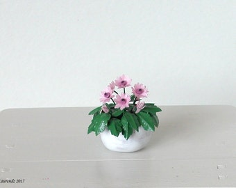 Dollhouse flowers - Pink Gerbera Daisies in white terracotta wall flower pot - 1:12 scale miniature (GF106)