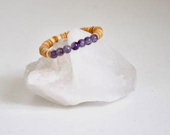 Bracelet / Amethyst + Natural Coconut Shell Bracelet / Reiki Yoga Mala / KO-MALA Blacktop