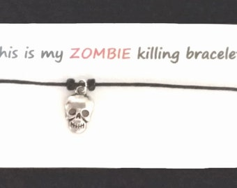 ZOMBIE themed friendship bracelet on waxed cotton cord OR Silver Plated Key Ring OR Silver Plated Necklaces