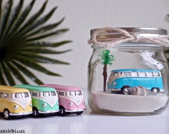 Dorm Decor / VW Bus / VW Van / Beach Car In A Jar / Beach Decor / Summer Home Decor / Gift for Her / Pink / Blue / Mason Jar / DIY terrarium