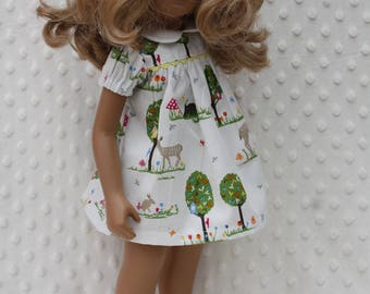 Deer in the Trees print Short Sleeved Dress Outfit for Sasha doll Girl, Toddler, Baby or 30/32cm Wichtel.