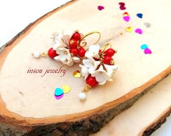 Red Earrings, Dangle Earrings, Red Jewelry, Statement Earrings, Red White, Coral Earrings, Romantic Earrings, Women Gift, Valentines Gift