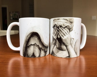 Weeping Angel Mug, Ceramic Coffee Mug 11oz, Doctor Who Mug, Sci-fi mug, Weeping Angel Artwork, Doctor Who Home Decor, Geek Mug, Don't Blink