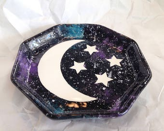 Celestial Moon and Stars Octagon Dish