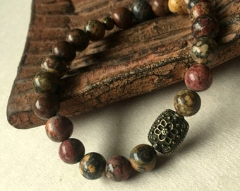 Natural Stone Stacking Bracelet FREE Shipping Leopard Jasper Earth Tones Boho Antique Bronze Rustic Bohemian Stretch Chic Fashion Jewelry