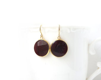 Polished Gold Plated Burgundy Jade Round Earrings