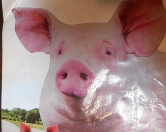Sow & Piglet Tote ~ upcycled from a feed bag Nature's Match Pig Feed Bag