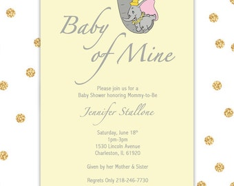 Dumbo Baby Shower Invite Only, Digital Invite, 5x7, Customizable